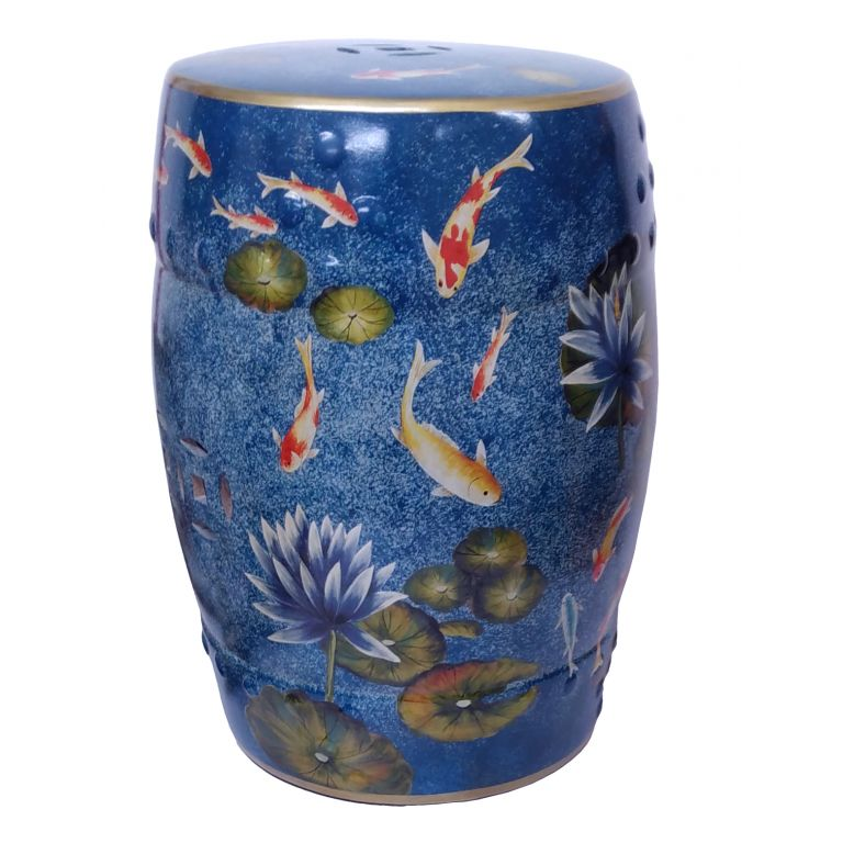 Koi and Waterlilies Stool