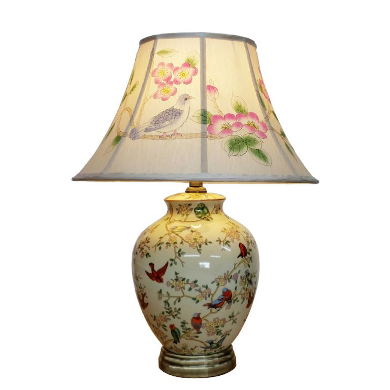 Birds and Blossom Vase Lamp