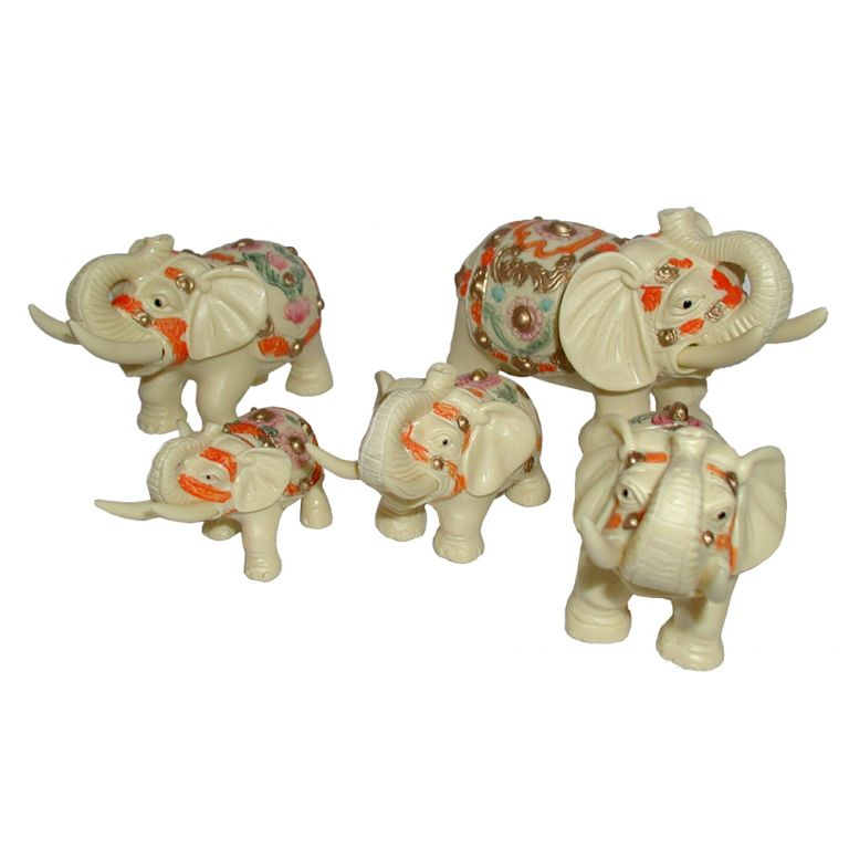 Set of Five Elephants